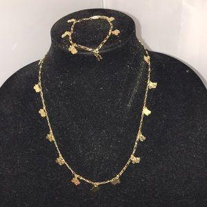Minnie Mouse Goldtone Necklace/Bracelet